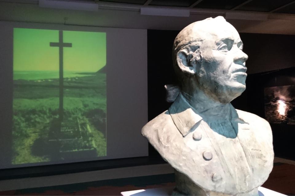 Бюст Витуса Беринга на выставке в музее г. Хорсенс, Дания. Фото 26 мар. 2019
