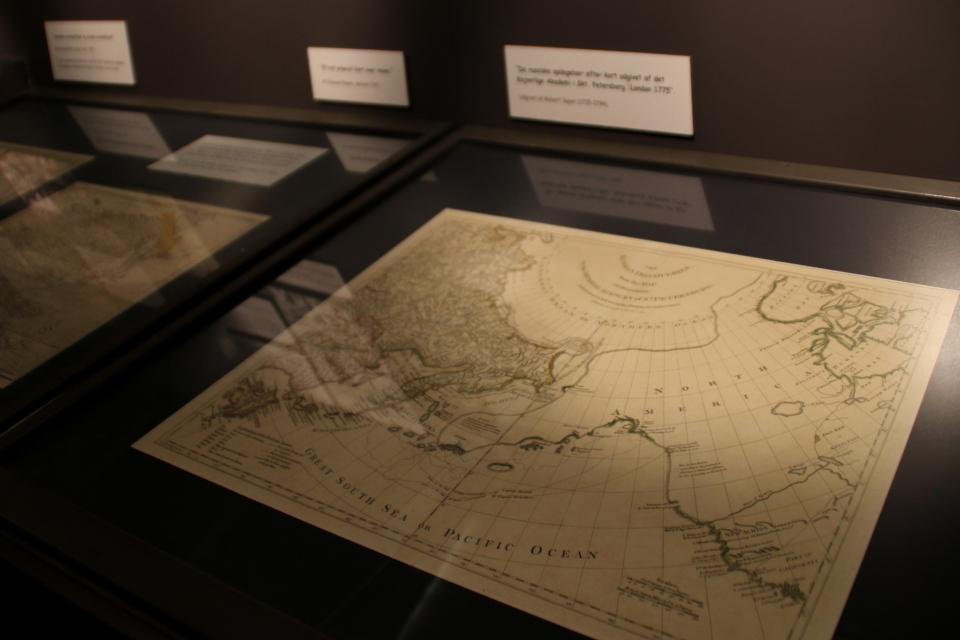 Карта 1700 х годов со схемой плаваний по морям между Россией и Аляской