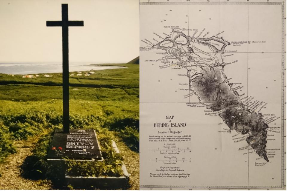 Могила Витуса Беринга на острове Беринг и карт острова от 1896 года