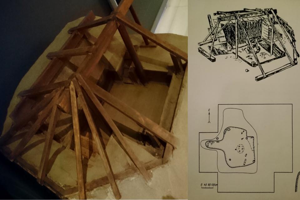 Иллюстрация и мини-копия хижины Беринга и схема