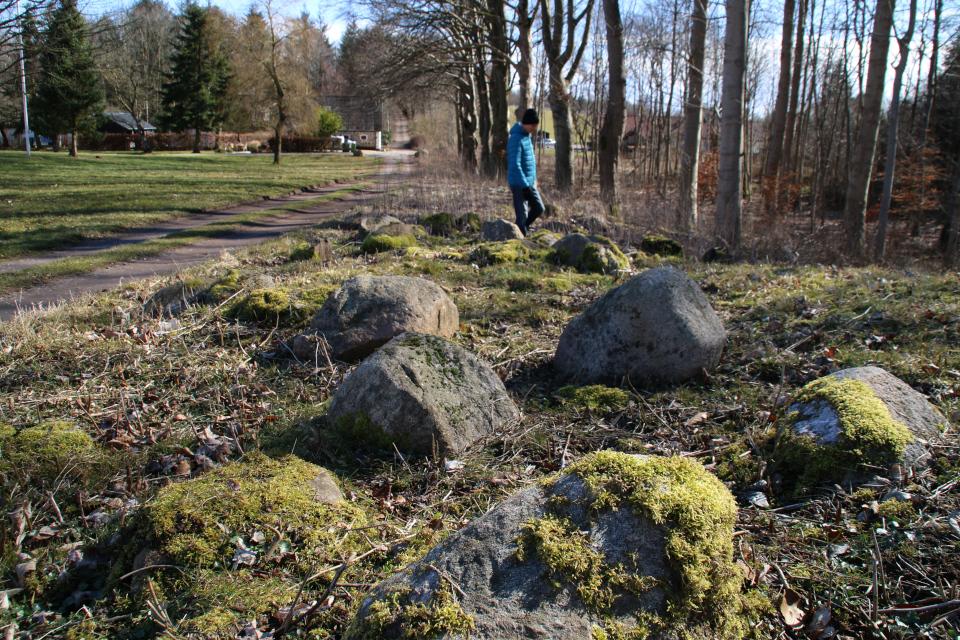 Камни возле полуразрушенного дольмена на окраине леса Хёррет