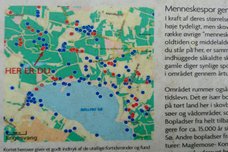 Карта с курганами возле озера Бёллинг (Bølling sø)