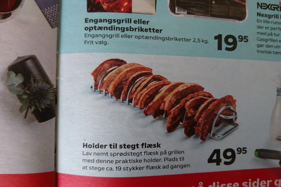 Реклама подставки для обжаривания кусочков свинины на гриле