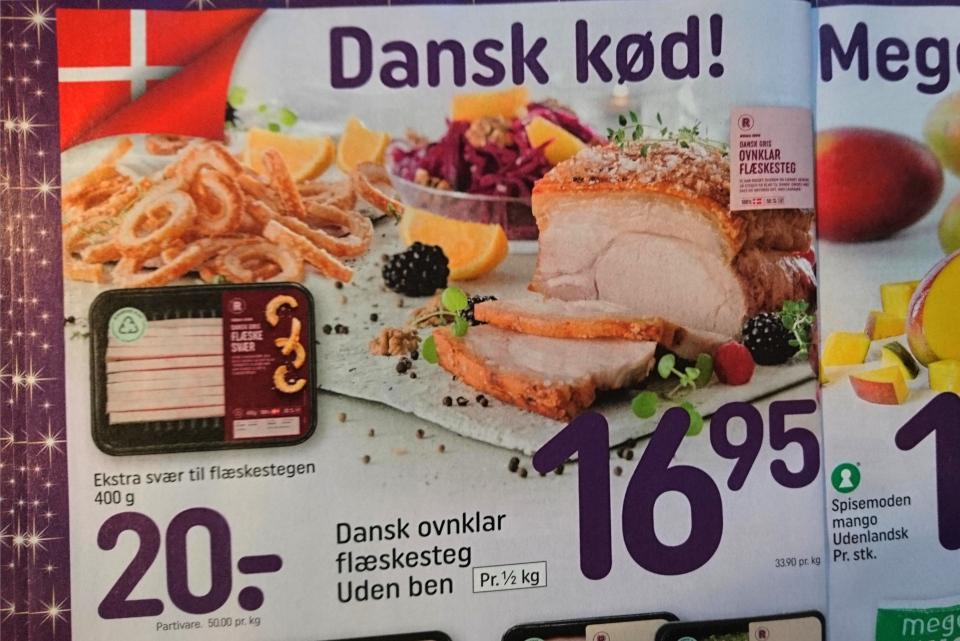 Реклама свиных корочек для приготовления блюда флэскесвэр (дат. flæskesvær)