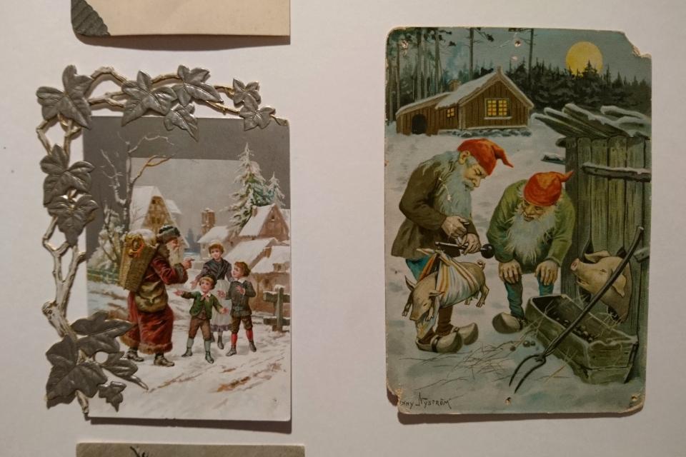 Дед мороз и ниссе на старых открытках с белым рождеством