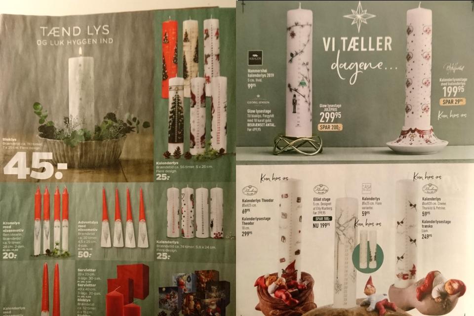 Календарные свечи в Дании - рекламы из журналов 2020 года