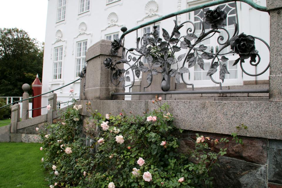 Живые розы и кованные розы на ограде у входа в дворец Марселисборг