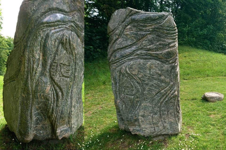 Рунные надписи на каменном памятнике в честь 50-летия королевы Маргрете 2