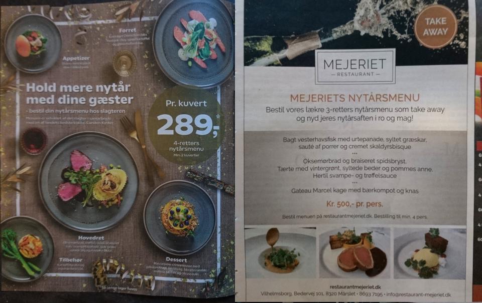 Новогодний стол в Дании 2021, меню Kvickly, Mejeriet