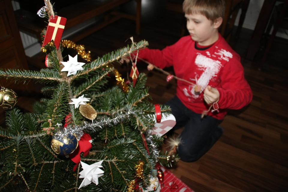 Мой сын украшает елочку. Фото 24 дек. 2014, г. Хойбьерг, Дания