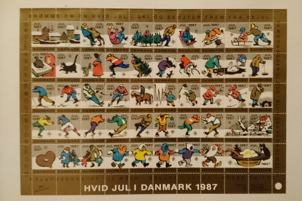 Белое рождество в Дании на рождественских почтово-благотворительных марках