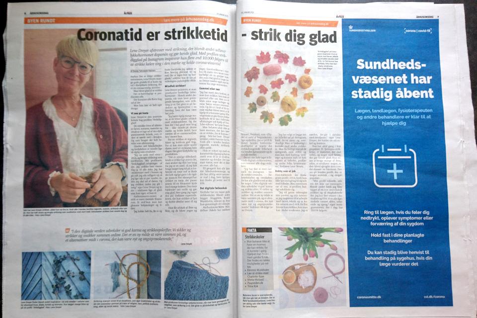 Статья про вязание в газете Aarhus Onsdag