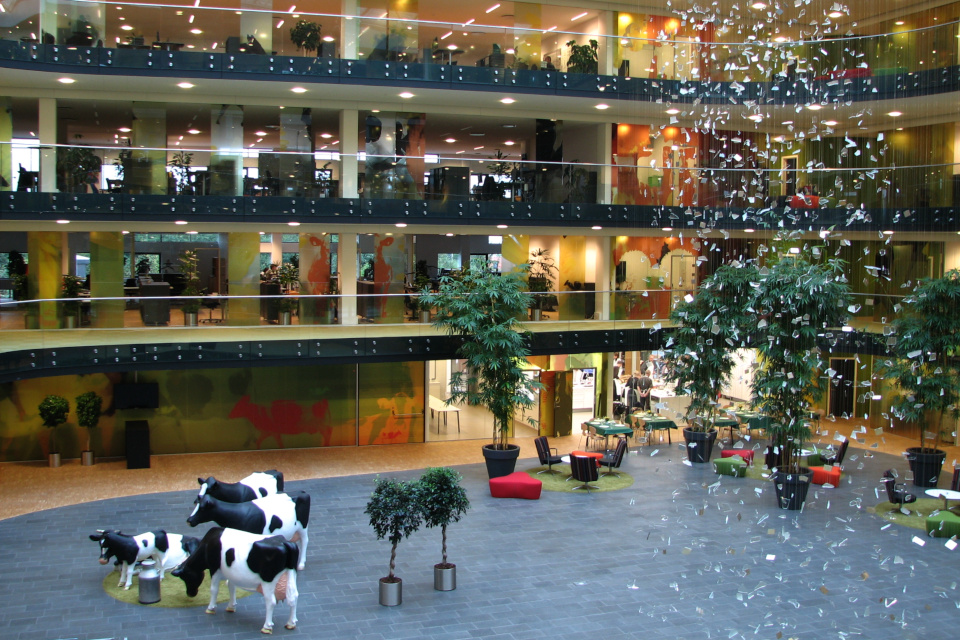 Коровы и дождь в зале здания штаб-квартиры Arla