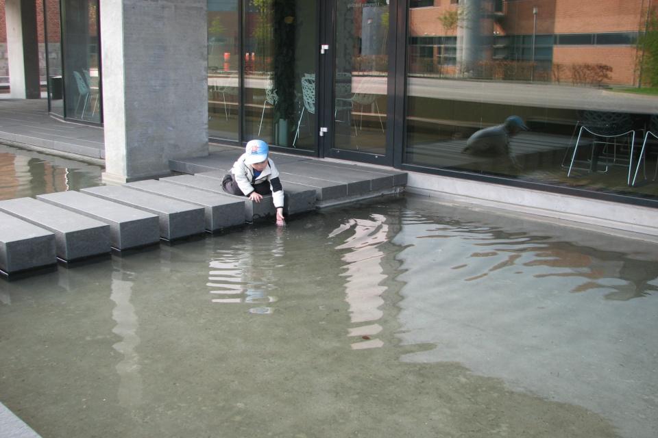 Мой сын пробует воду из декоративного бассейна