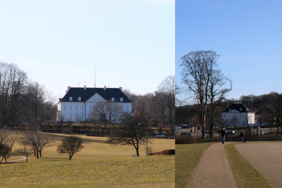 """Королевский дворец Марселисборг (слева) и """"маленький Марселисборг"""" (справа)"""