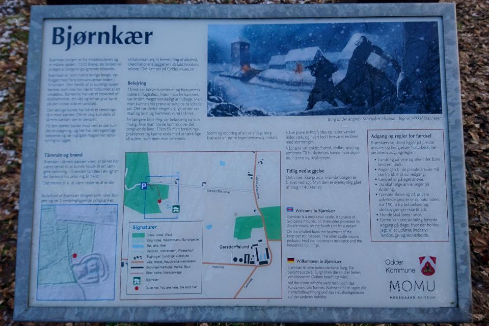 Информационный указатель возле руин Бьорнкэр. Фото 31 янв. 2021, Оддер, Дания