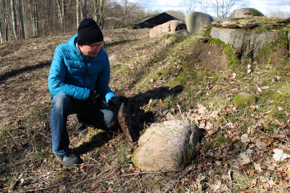 Колотый камень возле полуразрушенного дольмена на опушке леса Хёррет