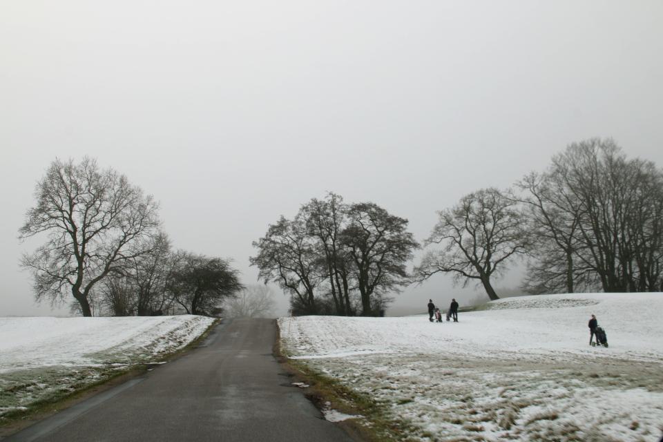 Заснеженные поля для гольфа вдоль дороги Aakærvej