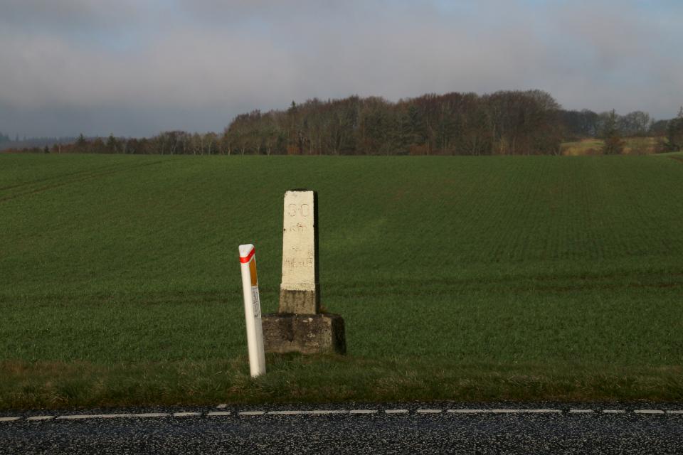 """Новый дорожный столбик """"30 км"""" и старый верстовой столб"""
