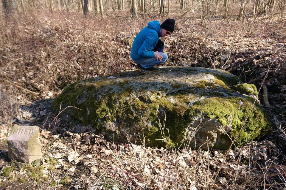 """Столбик """"охраняемый объект"""" возле камня с линками и петроглифами"""