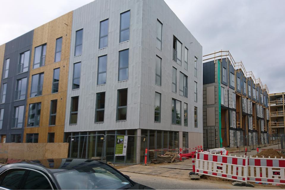 Первая деревянная многоэтажка на стадии завершения строительства, ул. Knudrisgade, г. Орхус, Дания. Фото 26 июн. 2021