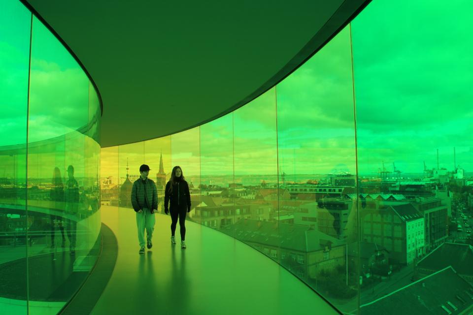 """""""Западная аллея"""" (Vester Allé) - вид из радужной панорамы. Фото 9 окт. 2019, г. Орхус, Дания"""