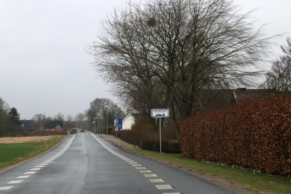 Дорожный указатель города Видстен, Дания. Фото 28 мар. 2021