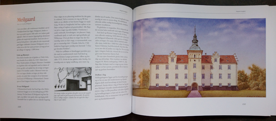 Акварельная работа Александра Тиме - дворец поместья Майлгорд (1999). Иллюстрация из книги Østjyske Herregårde