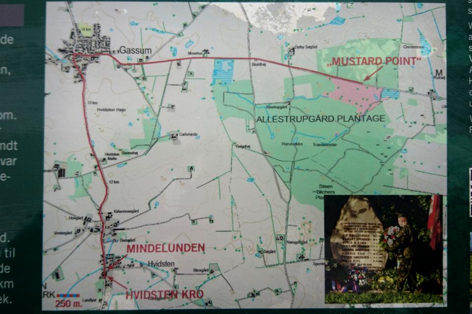 Карта с месторасположением плантации и постоялого двора. Фото с информационного щита, Видстен. Дания. Фото 28 мар. 2021