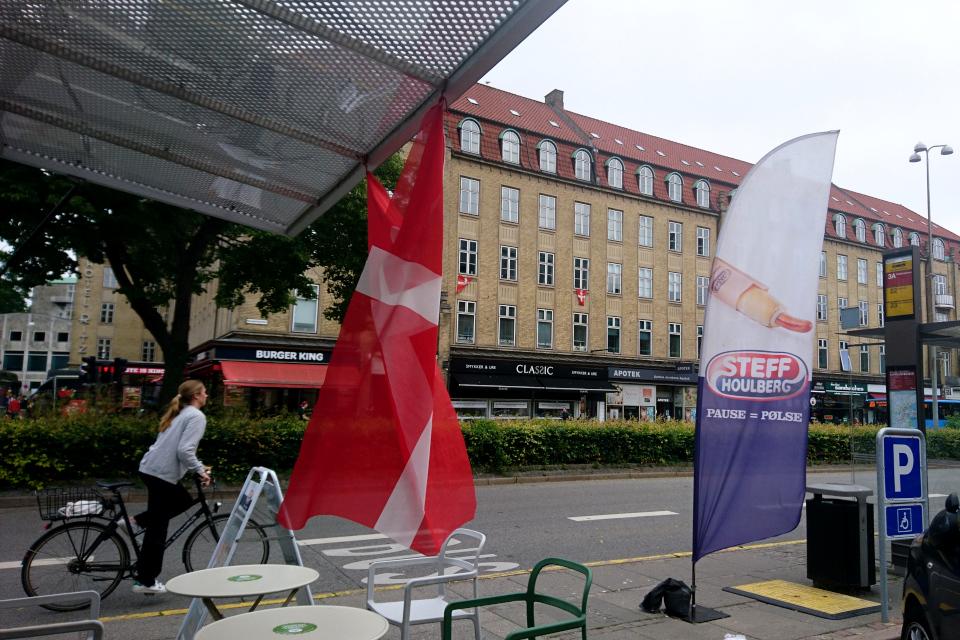 Датский сосисочный ларек. Flag for Danmark. Флаг за Данию. 26 июн 2021