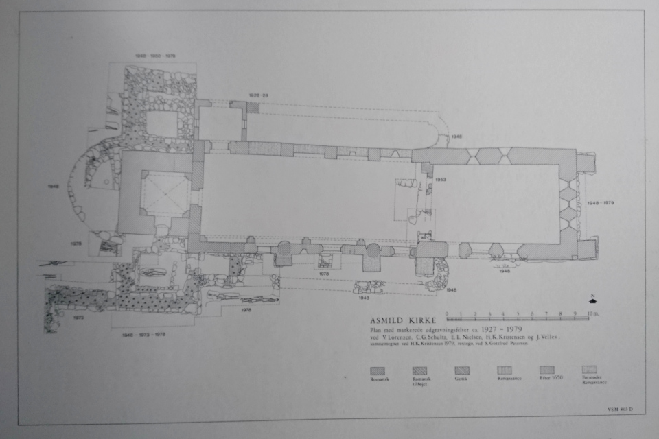 План фундаментов церкви на основе археологических раскопок 1927 - 1979 годов. Фото 2 июн. 2021, церковь Асмильд, Виборг, Дания