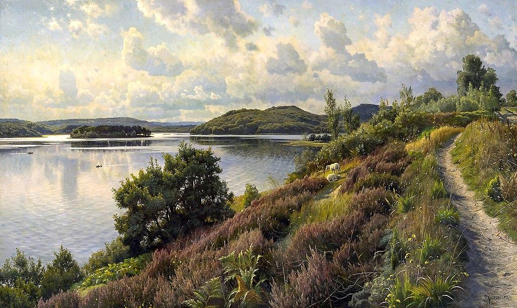 Петер Мёрк Мёнстед (дат. Peder Mørk Mønsted, 1859- 1941) Udsigt over Borresø fra Holten, Svejbæk, mod Karoline Amalies Høj, 1912