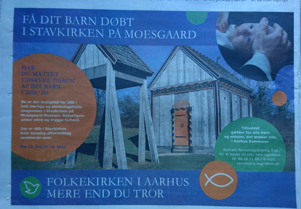 Реклама про крещение в церкви викингов Хёрнинг в газете Århus Onsdag, 11 июл. 2021