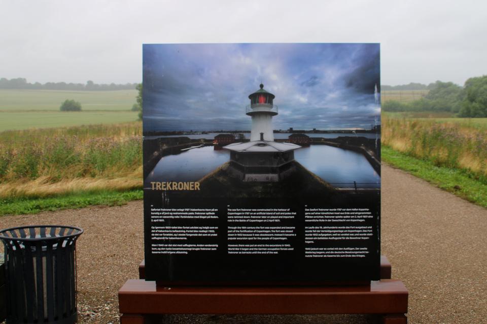 Плакат с фотографией крепости Трекронер в музее под открытым небом, Леллинге / Кёге, Дания. Фото 10 июл. 2021