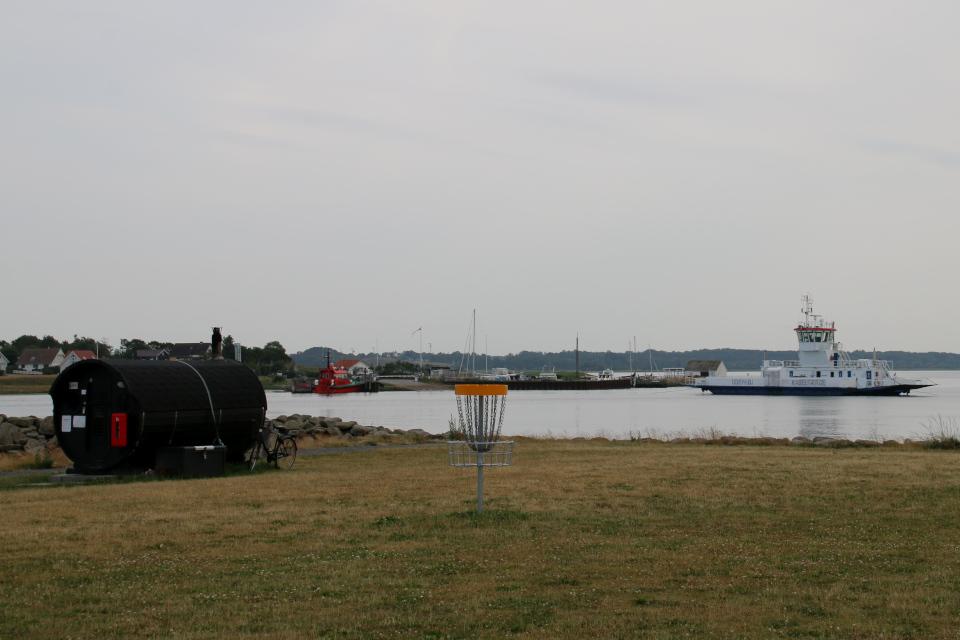 Диск-гольф и сауна. Фьорд Рандерс. Удбюхой (Udbyhøj, Havndal), Дания. Фото 28 июля 2021