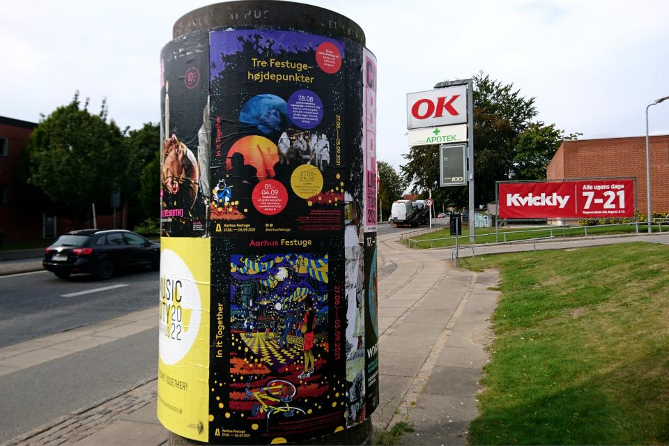Рекламный столб, Åbyhøj, Орхус, Дания. Фото 24 авг. 2021