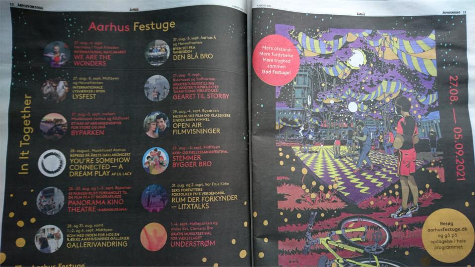 Газета Aarhus Onsdag, реклама праздничной недели в Орхусе. Фото 10 авг. 2021