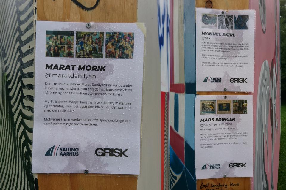 Manuel Skirl, Mads Edinger, Марат Данильян (Морик) . Стрит-арт Орхус 2021, fodboldeng ved Skovbrynet Kongelunden, г. Орхус, Дания. Фото 16 сент. 2021