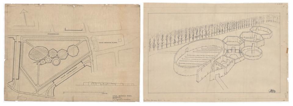 Иллюстрация К.Т. Сёренсен со схемой музыкального парка в память о Витусе Беринге в Хорсенс, найденная на просторах интернета