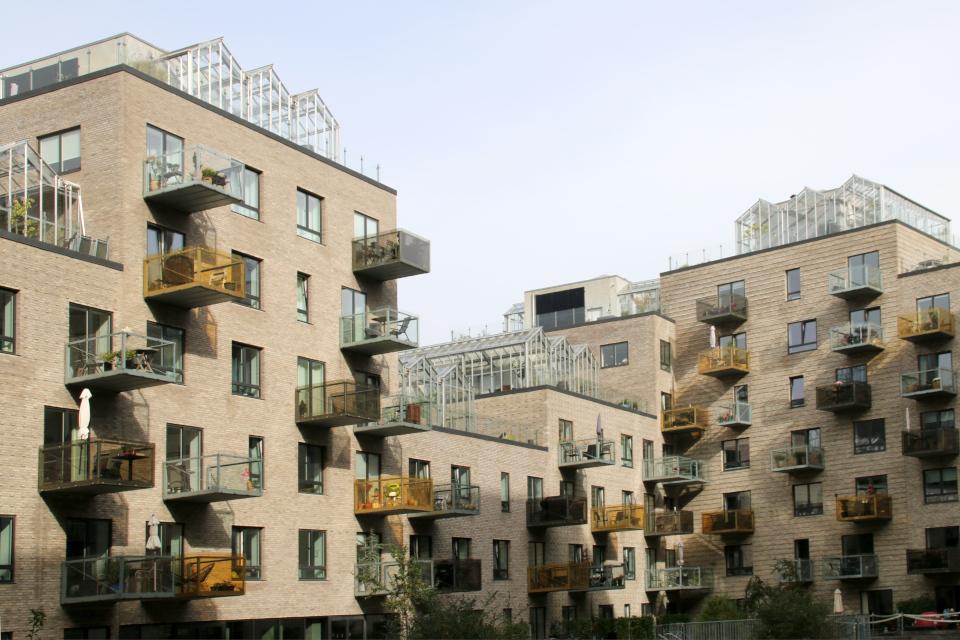 Теплицы на крышах. Орхус Доклендс 29 сентября 2021 (Aarhus Ø), Дания