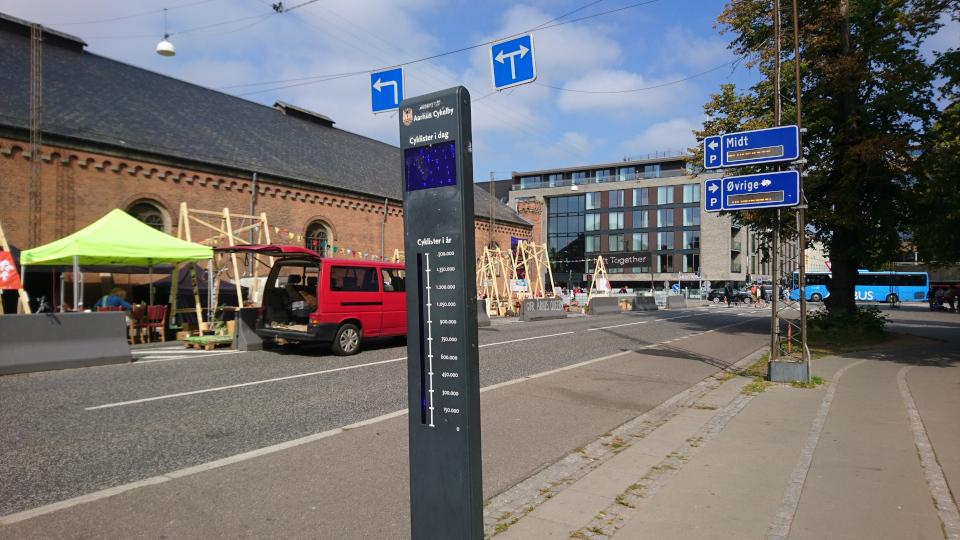 Счетчик количества проезжающих велосипедистов. Праздничная неделя Орхус 2021, Frederiks Allé, Дания. Фото 2 сент. 2021