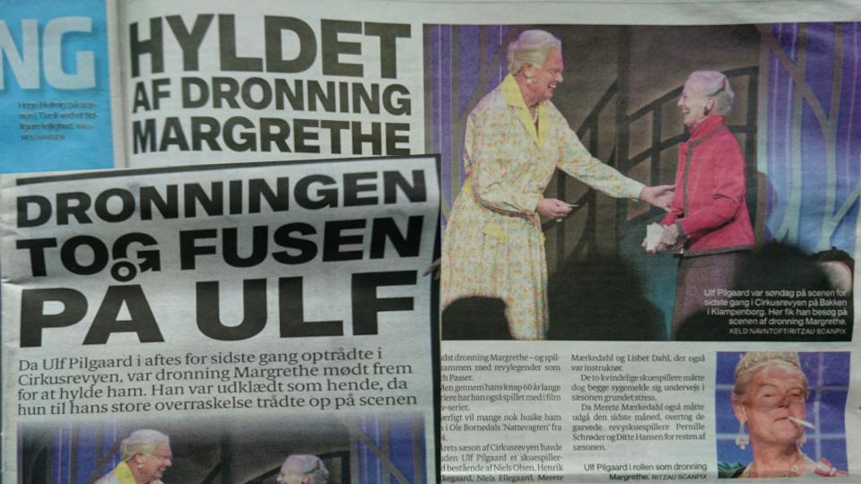 Статьи в газетах, посвященные последнему выступлению пародиста Ульф Пилгаард на сцене Баккен и его встречу с королевой Маргрете 2. Фото 4 октября 2021