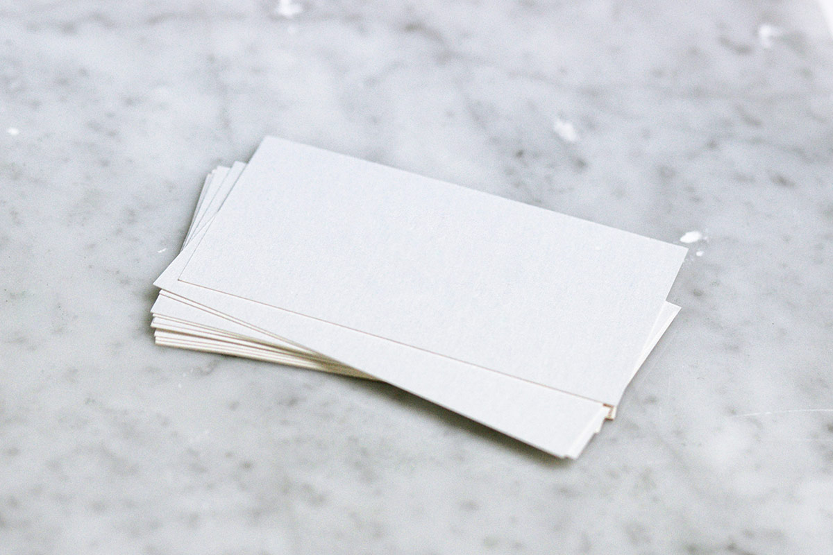Cards on marble surface