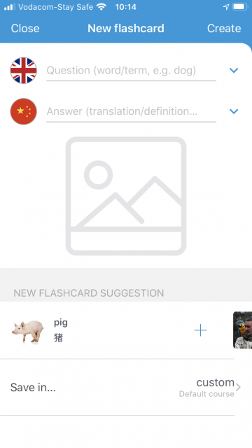 VocApp flashcard suggestions