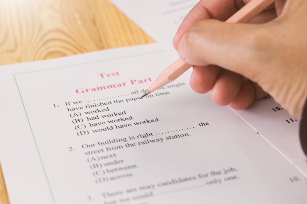 Person taking IELTS exam