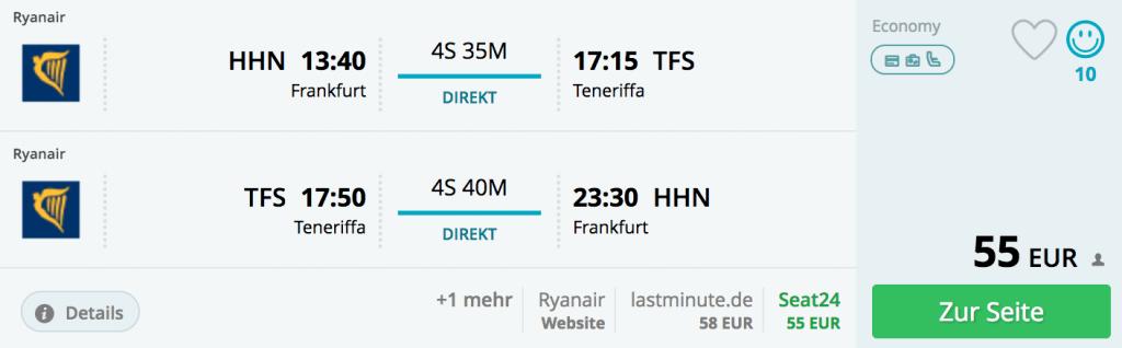 Frankfurt/Hahn nach Teneriffa-Süd im Januar 2017