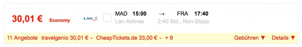 Am 11.01. für 30 Euro von Madrid nach Frankfurt fliegen
