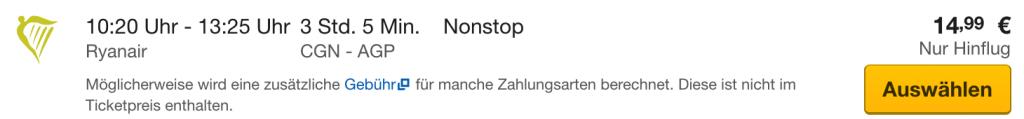Köln - Malaga nur 14,99€