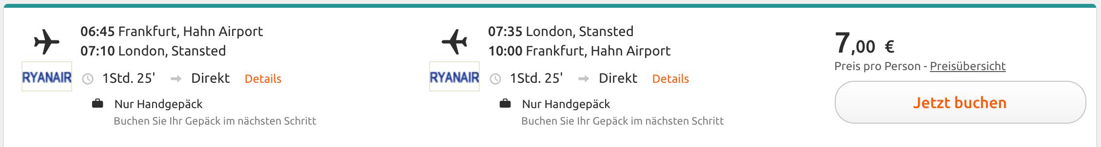 Für 7 Euro nach London, jetzt buchen!