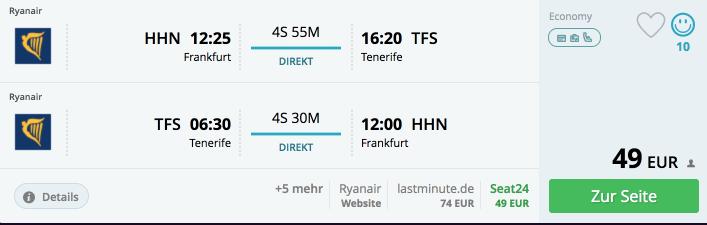 Für 49 Euro nach Teneriffa!